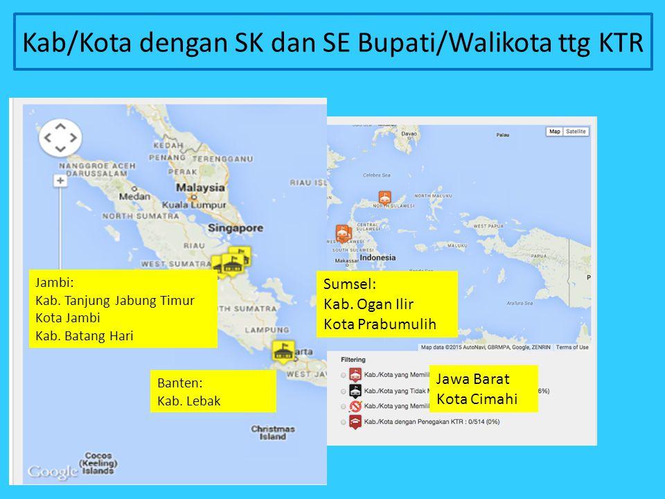 Kab/Kota dengan SK dan SE Bupati/Walikota ttg KTR