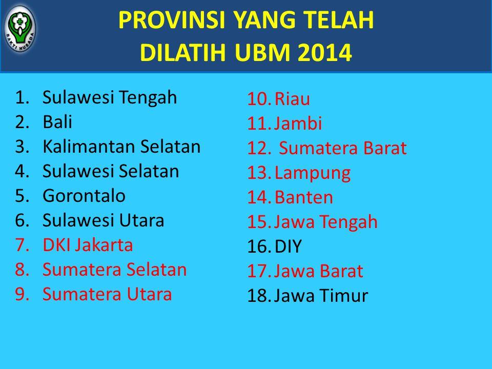 PROVINSI YANG TELAH DILATIH UBM 2014
