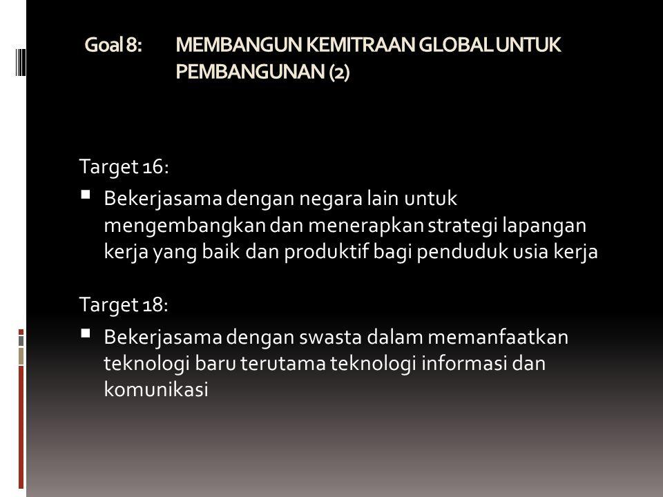 Goal 8: MEMBANGUN KEMITRAAN GLOBAL UNTUK PEMBANGUNAN (2)