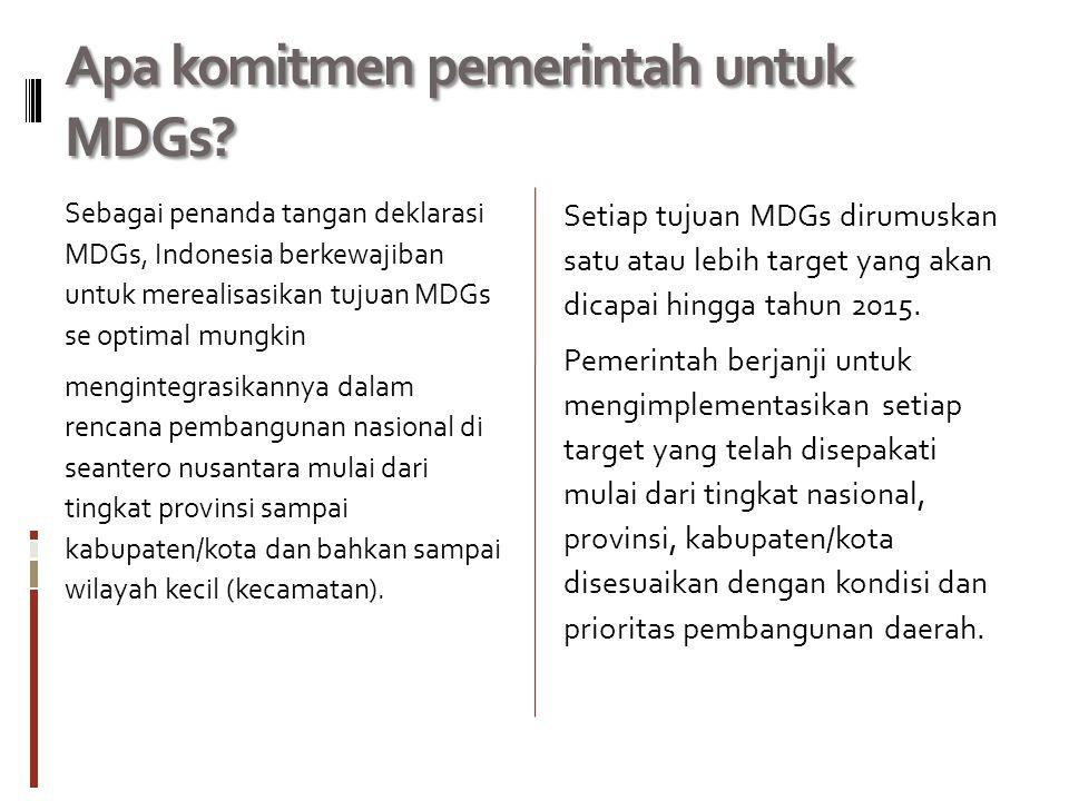 Apa komitmen pemerintah untuk MDGs