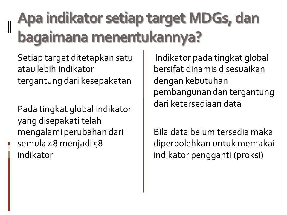 Apa indikator setiap target MDGs, dan bagaimana menentukannya