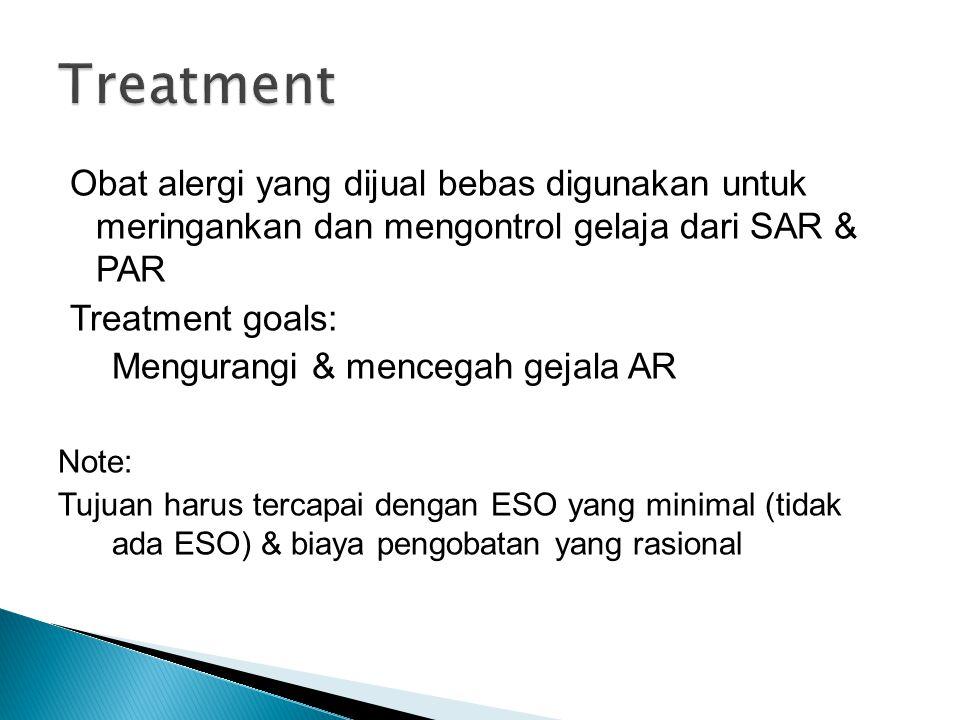 Treatment Obat alergi yang dijual bebas digunakan untuk meringankan dan mengontrol gelaja dari SAR & PAR.