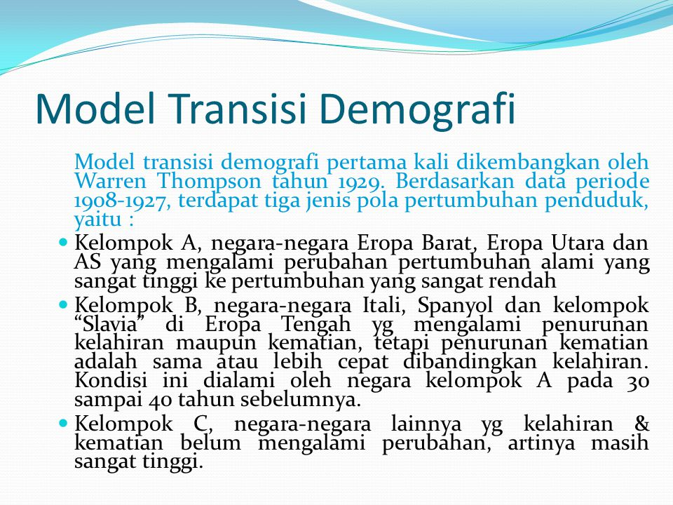 Model Transisi Demografi