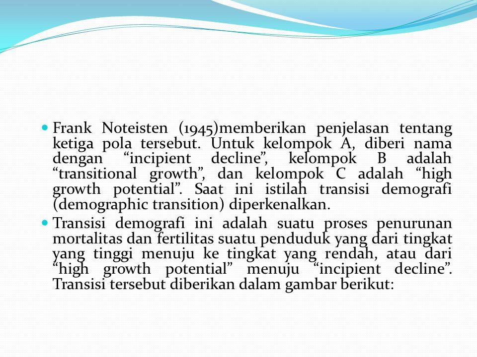 Frank Noteisten (1945)memberikan penjelasan tentang ketiga pola tersebut. Untuk kelompok A, diberi nama dengan incipient decline , kelompok B adalah transitional growth , dan kelompok C adalah high growth potential . Saat ini istilah transisi demografi (demographic transition) diperkenalkan.