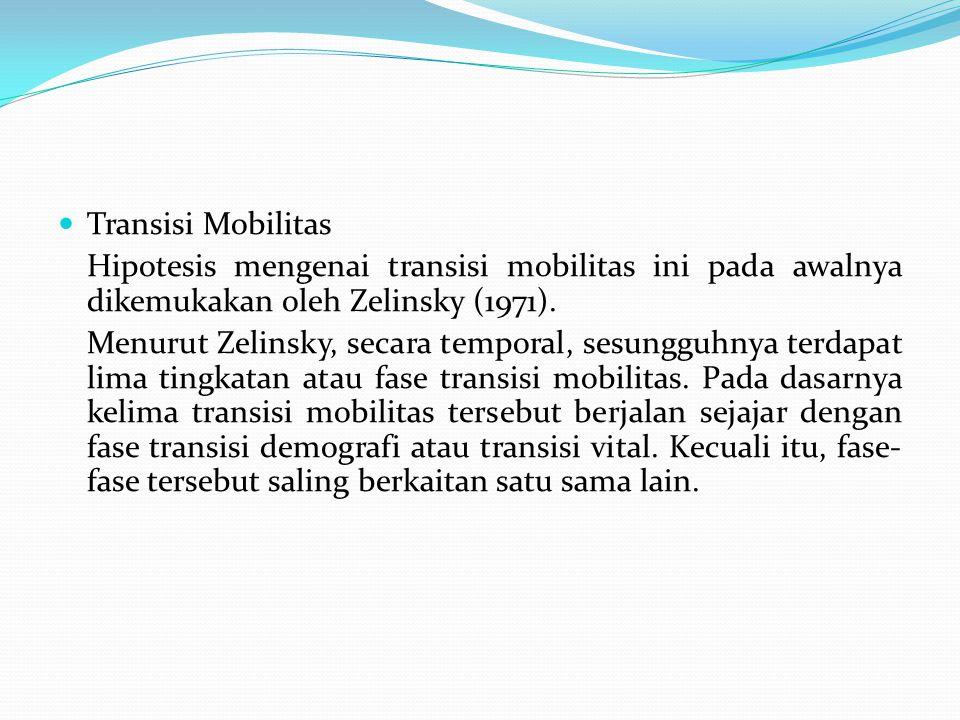 Transisi Mobilitas Hipotesis mengenai transisi mobilitas ini pada awalnya dikemukakan oleh Zelinsky (1971).