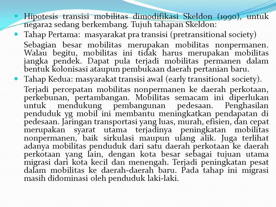 Hipotesis transisi mobilitas dimodifikasi Skeldon (1990), untuk negara2 sedang berkembang. Tujuh tahapan Skeldon: