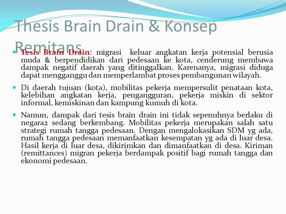 Thesis Brain Drain & Konsep Remitans