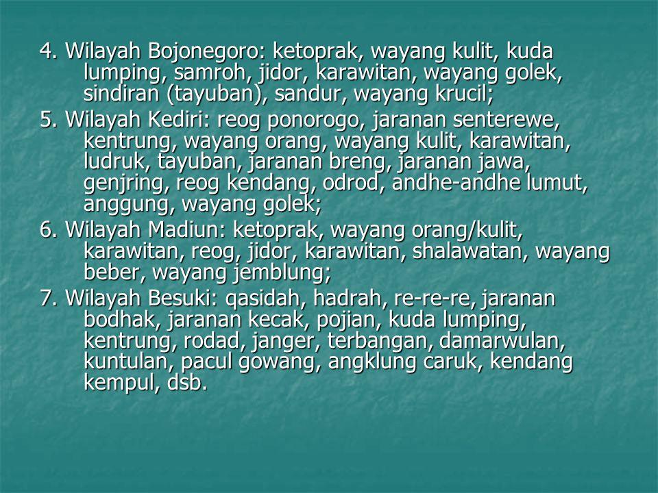 4. Wilayah Bojonegoro: ketoprak, wayang kulit, kuda lumping, samroh, jidor, karawitan, wayang golek, sindiran (tayuban), sandur, wayang krucil;