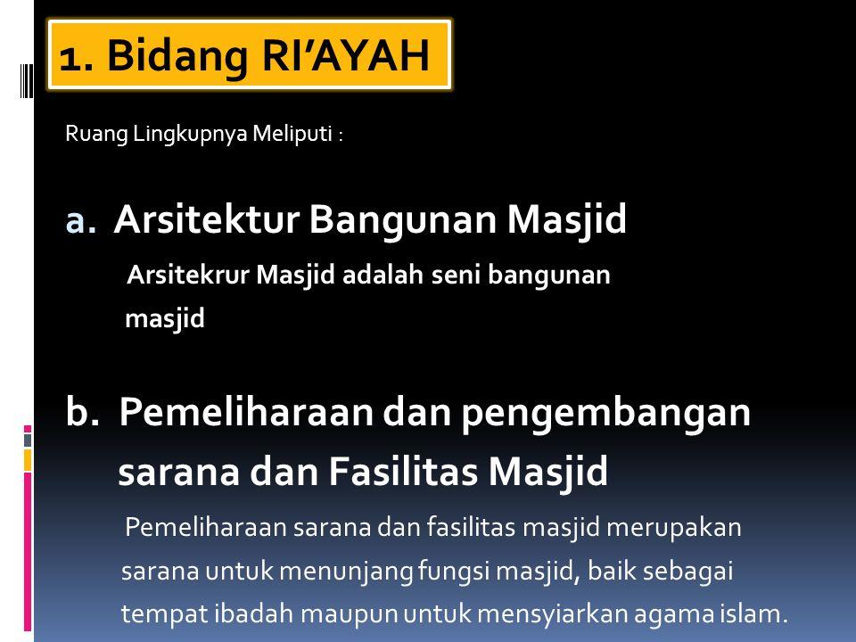 1. Bidang RI'AYAH Arsitektur Bangunan Masjid