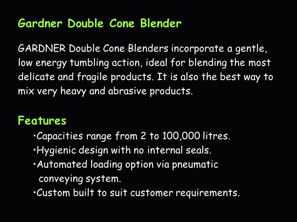 Gardner Double Cone Blender