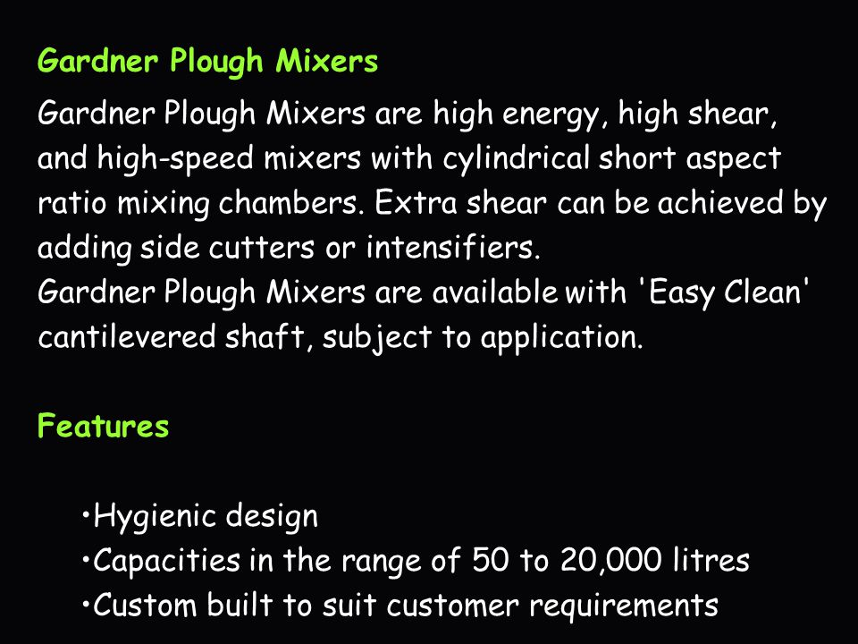 Gardner Plough Mixers