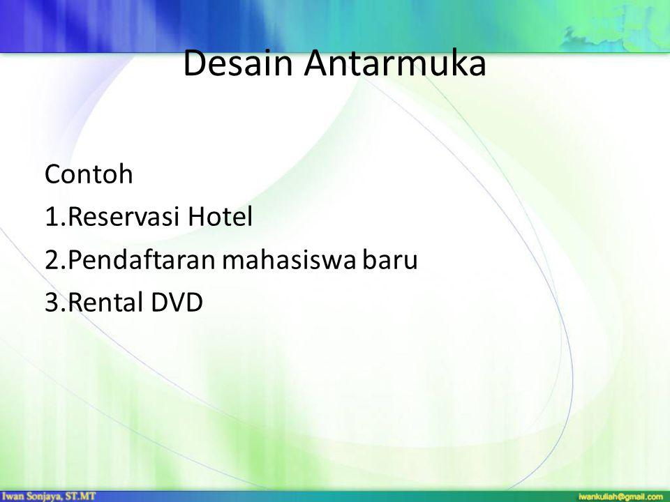 Desain Antarmuka Contoh Reservasi Hotel Pendaftaran mahasiswa baru