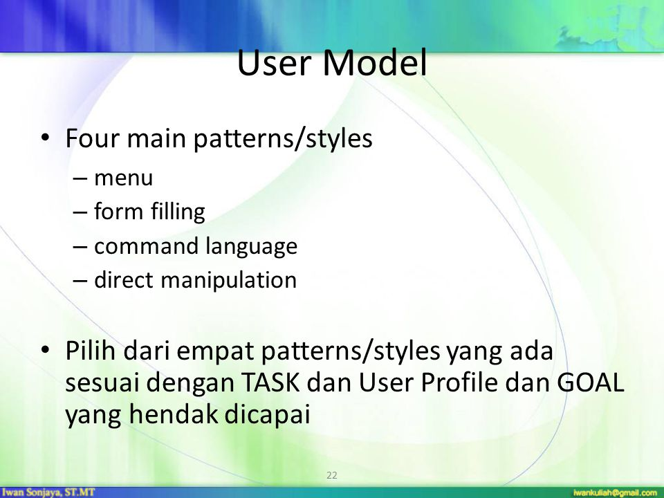 User Model Four main patterns/styles