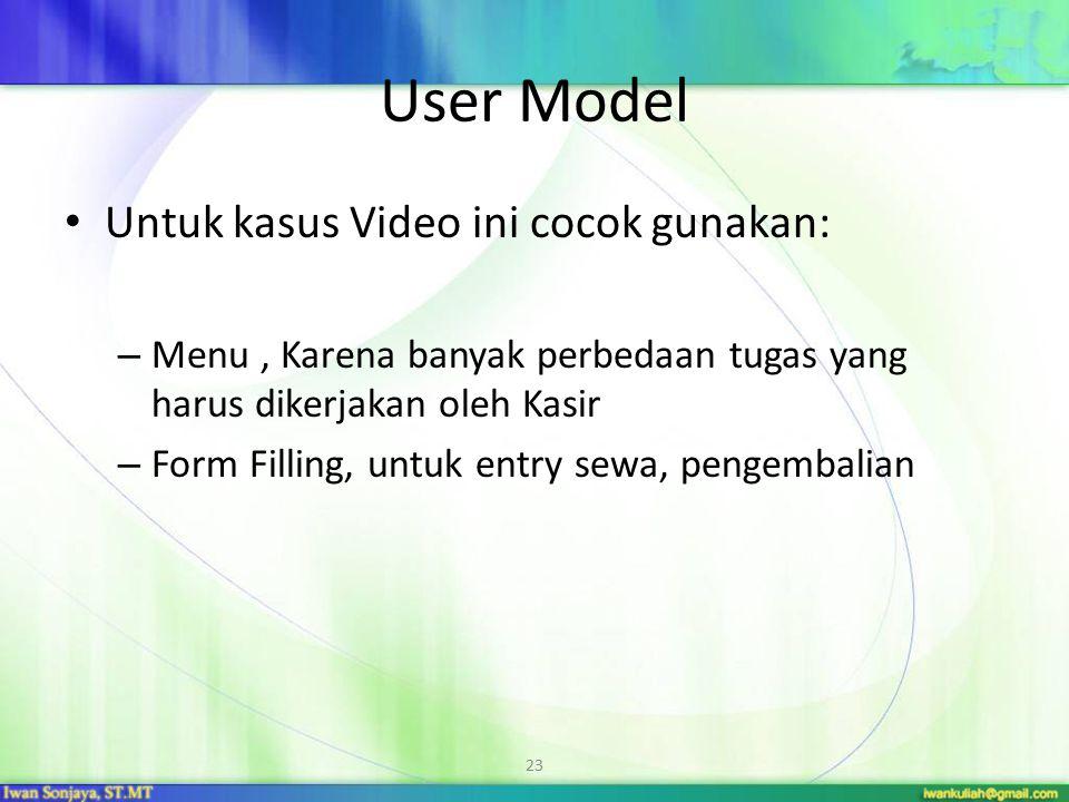 User Model Untuk kasus Video ini cocok gunakan: