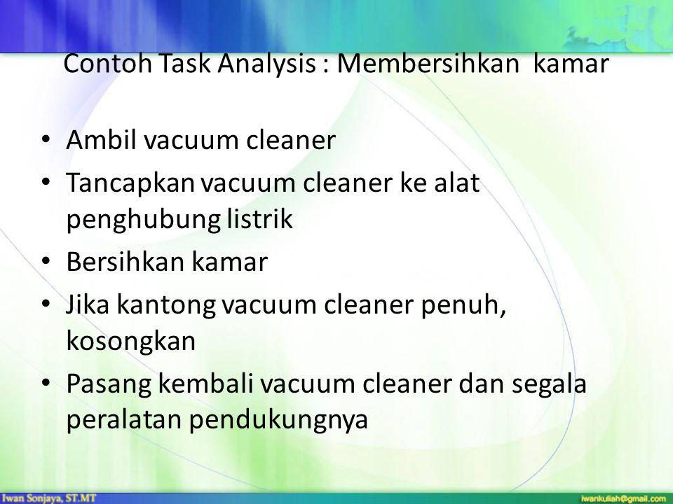 Contoh Task Analysis : Membersihkan kamar