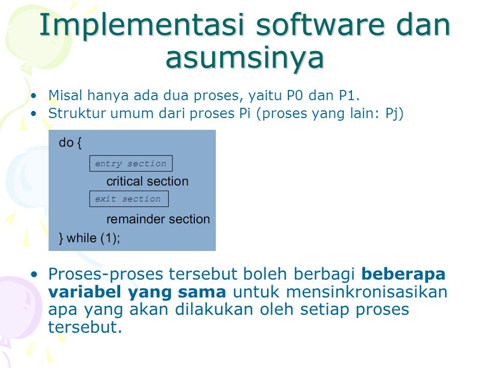 Implementasi software dan asumsinya