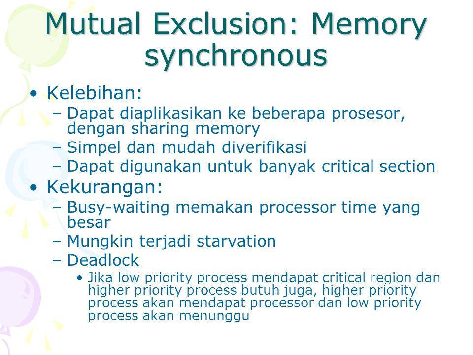 Mutual Exclusion: Memory synchronous