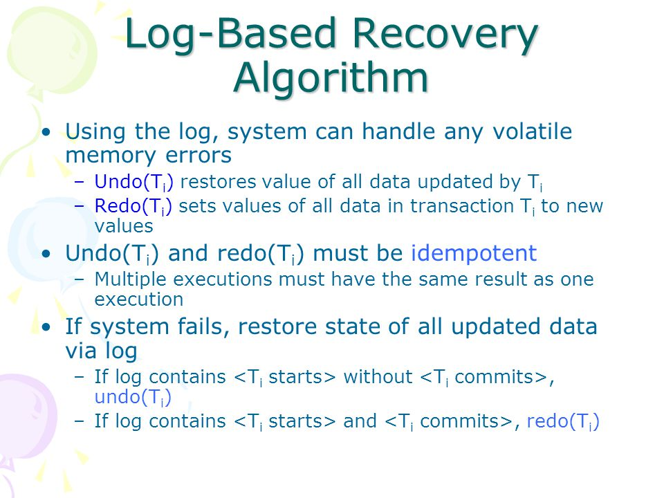 Log-Based Recovery Algorithm