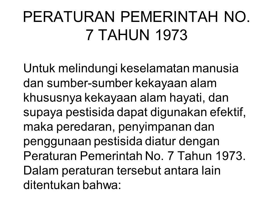 PERATURAN PEMERINTAH NO. 7 TAHUN 1973