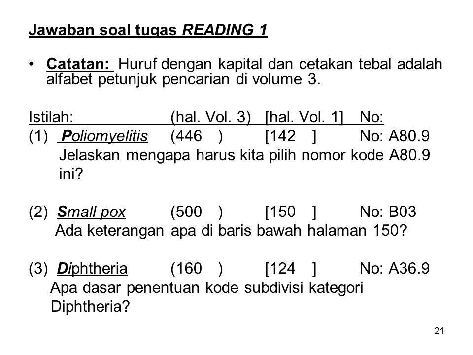 Jawaban soal tugas READING 1