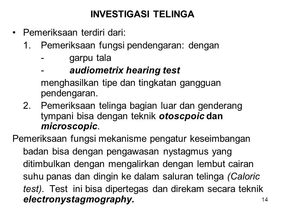INVESTIGASI TELINGA Pemeriksaan terdiri dari: 1. Pemeriksaan fungsi pendengaran: dengan. - garpu tala.
