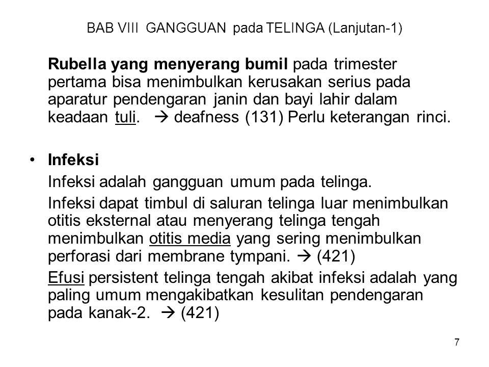 BAB VIII GANGGUAN pada TELINGA (Lanjutan-1)