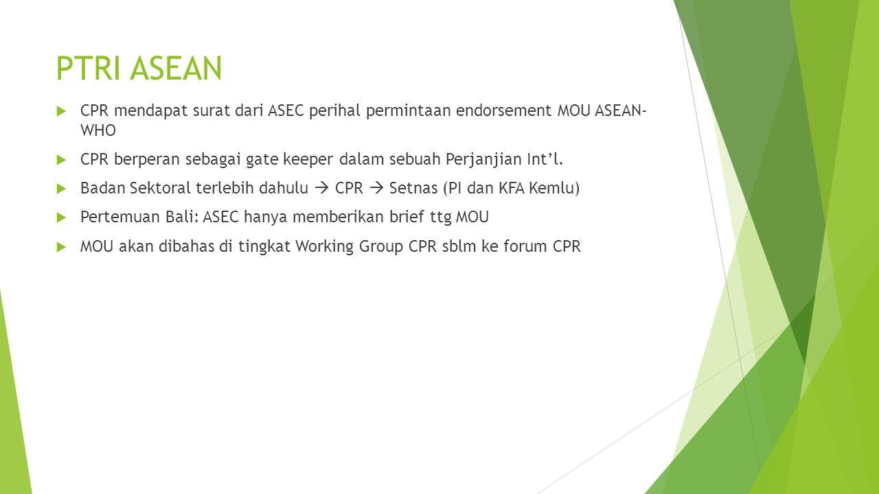 PTRI ASEAN CPR mendapat surat dari ASEC perihal permintaan endorsement MOU ASEAN- WHO.