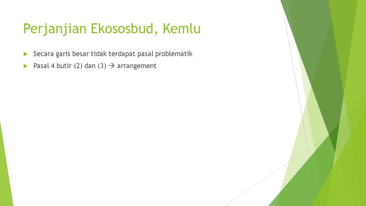 Perjanjian Ekososbud, Kemlu