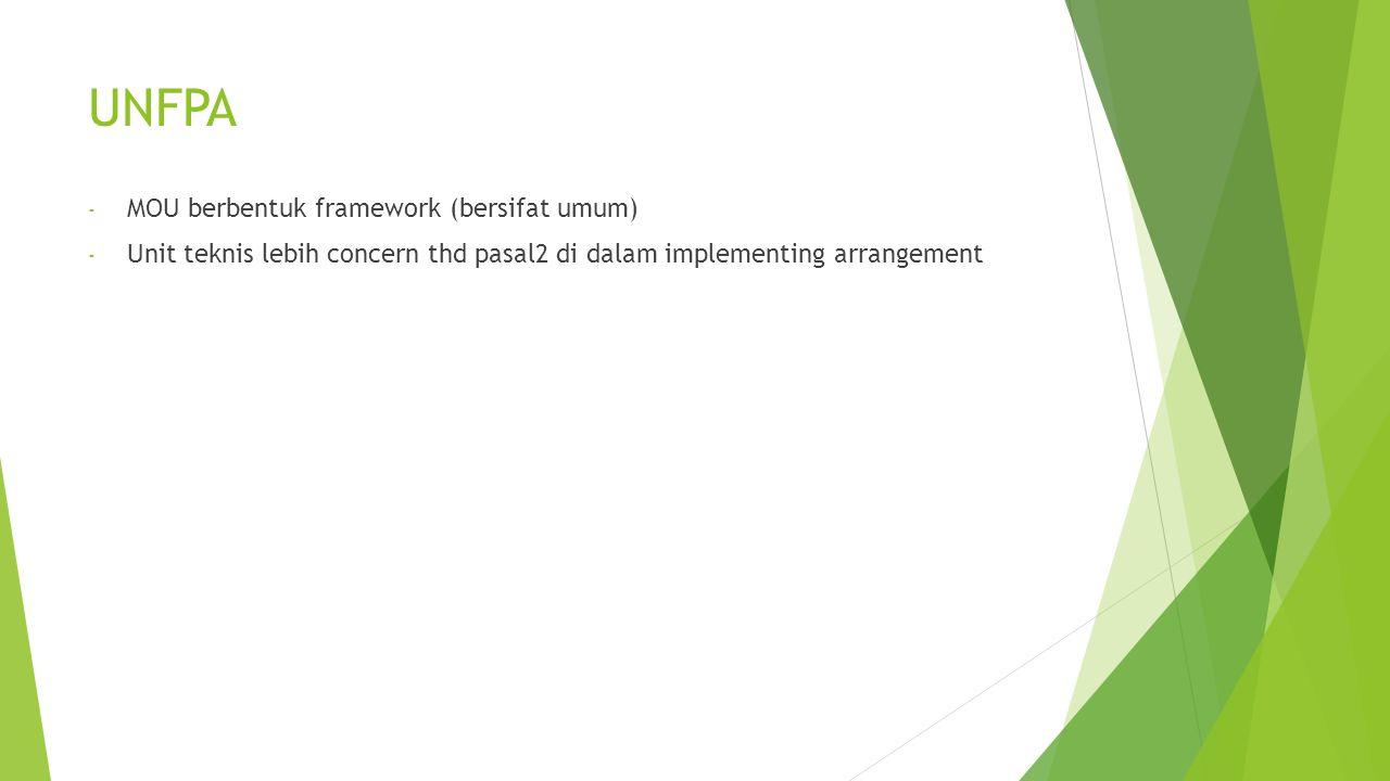 UNFPA MOU berbentuk framework (bersifat umum)