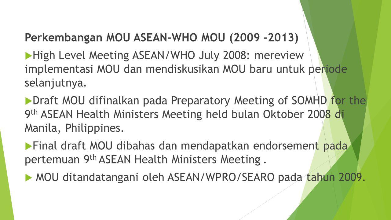 Perkembangan MOU ASEAN-WHO MOU (2009 -2013)