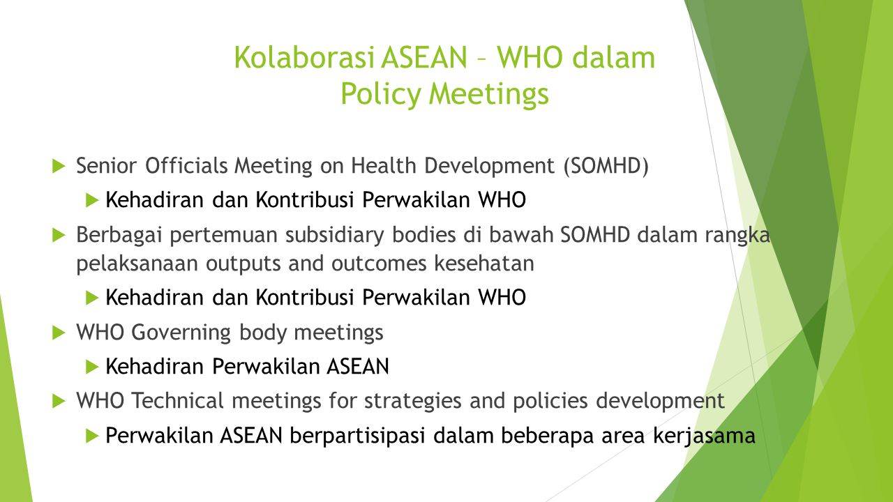 Kolaborasi ASEAN – WHO dalam Policy Meetings