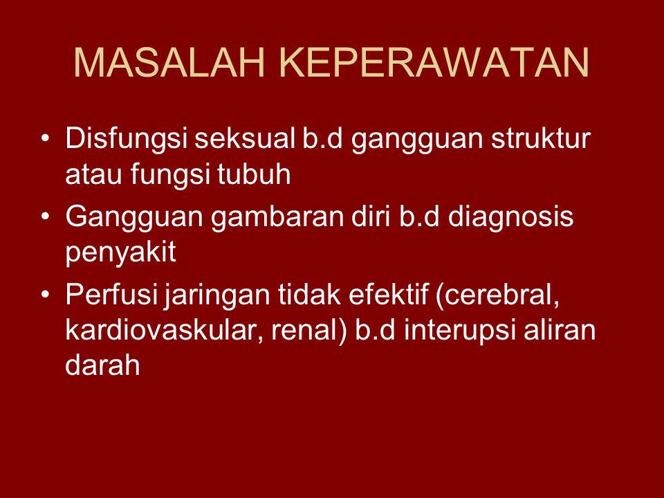 MASALAH KEPERAWATAN Disfungsi seksual b.d gangguan struktur atau fungsi tubuh. Gangguan gambaran diri b.d diagnosis penyakit.