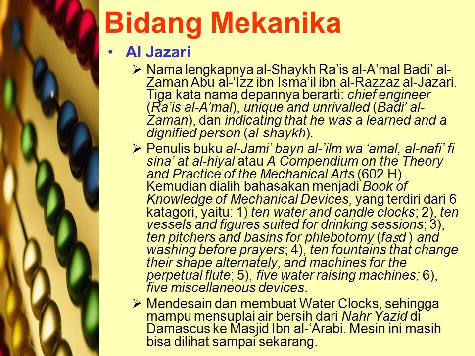Bidang Mekanika Al Jazari