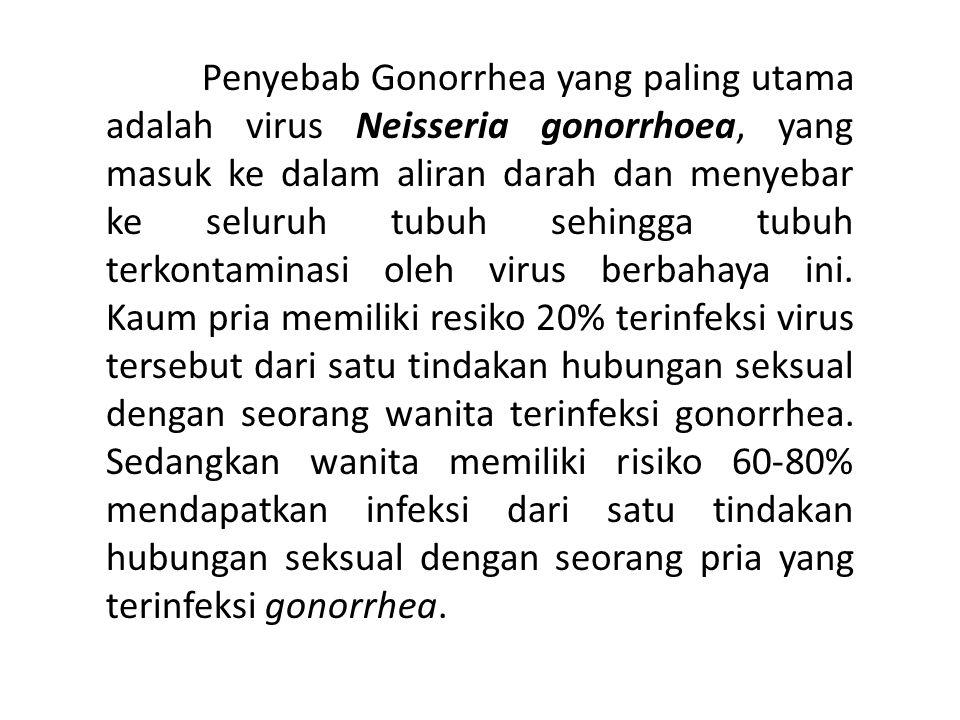 Penyebab Gonorrhea yang paling utama adalah virus Neisseria gonorrhoea, yang masuk ke dalam aliran darah dan menyebar ke seluruh tubuh sehingga tubuh terkontaminasi oleh virus berbahaya ini.