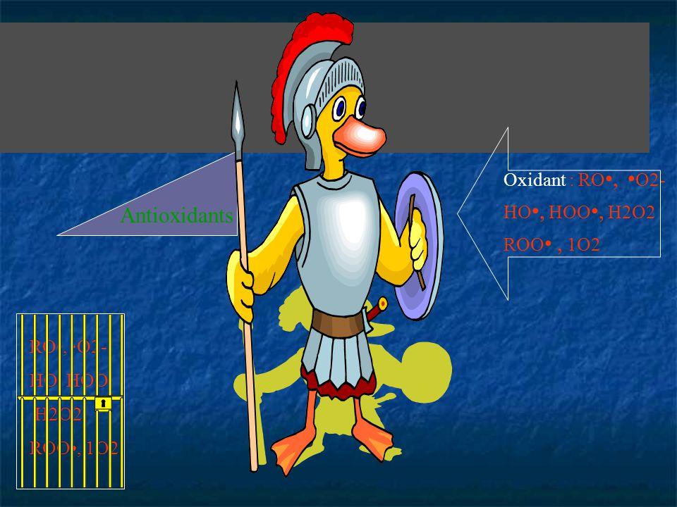 Antioxidants Oxidant : RO•, •O2- HO•, HOO•, H2O2 ROO• , 1O2 RO•, ·O2-