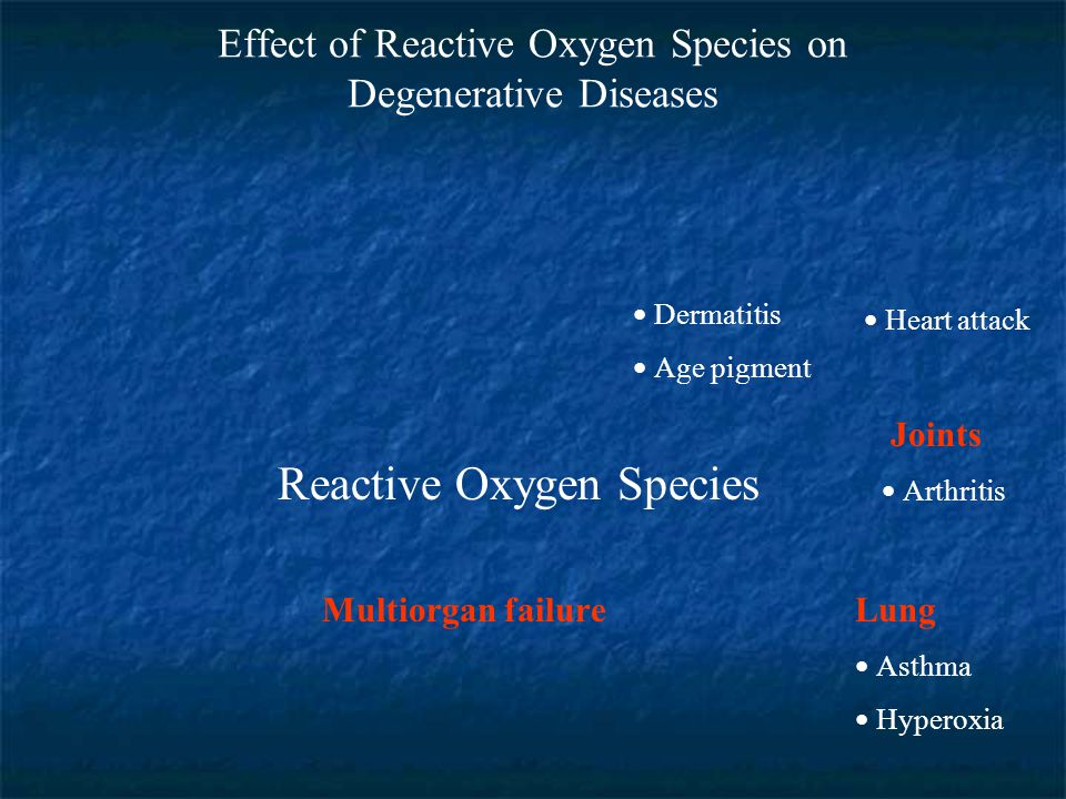 Effect of Reactive Oxygen Species on Degenerative Diseases