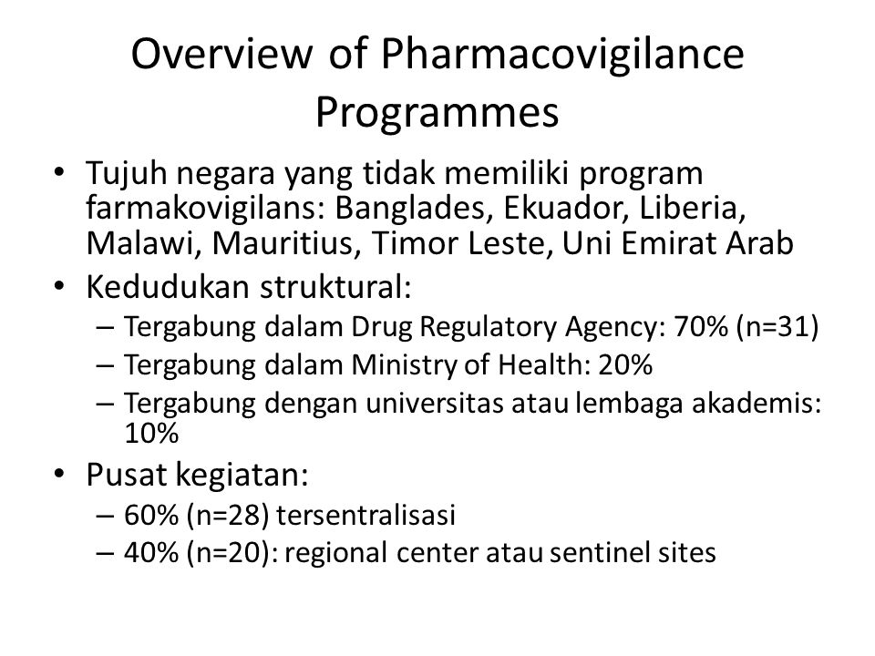 Overview of Pharmacovigilance Programmes