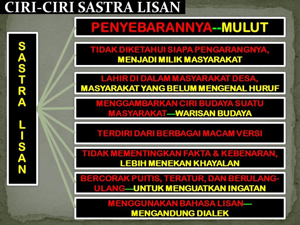 CIRI-CIRI SASTRA LISAN