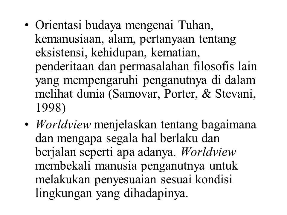 Orientasi budaya mengenai Tuhan, kemanusiaan, alam, pertanyaan tentang eksistensi, kehidupan, kematian, penderitaan dan permasalahan filosofis lain yang mempengaruhi penganutnya di dalam melihat dunia (Samovar, Porter, & Stevani, 1998)