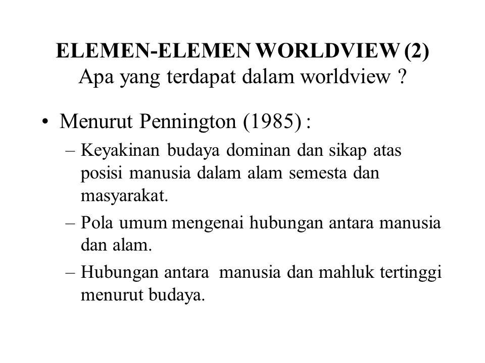 ELEMEN-ELEMEN WORLDVIEW (2) Apa yang terdapat dalam worldview