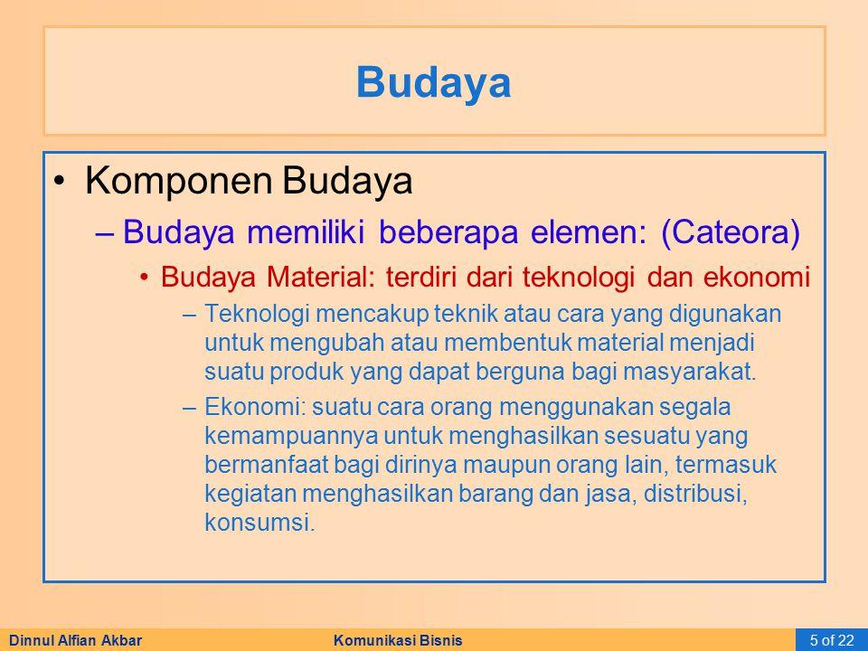 Budaya Komponen Budaya Budaya memiliki beberapa elemen: (Cateora)