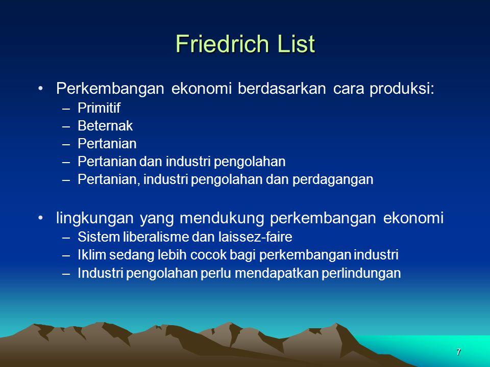 Friedrich List Perkembangan ekonomi berdasarkan cara produksi: