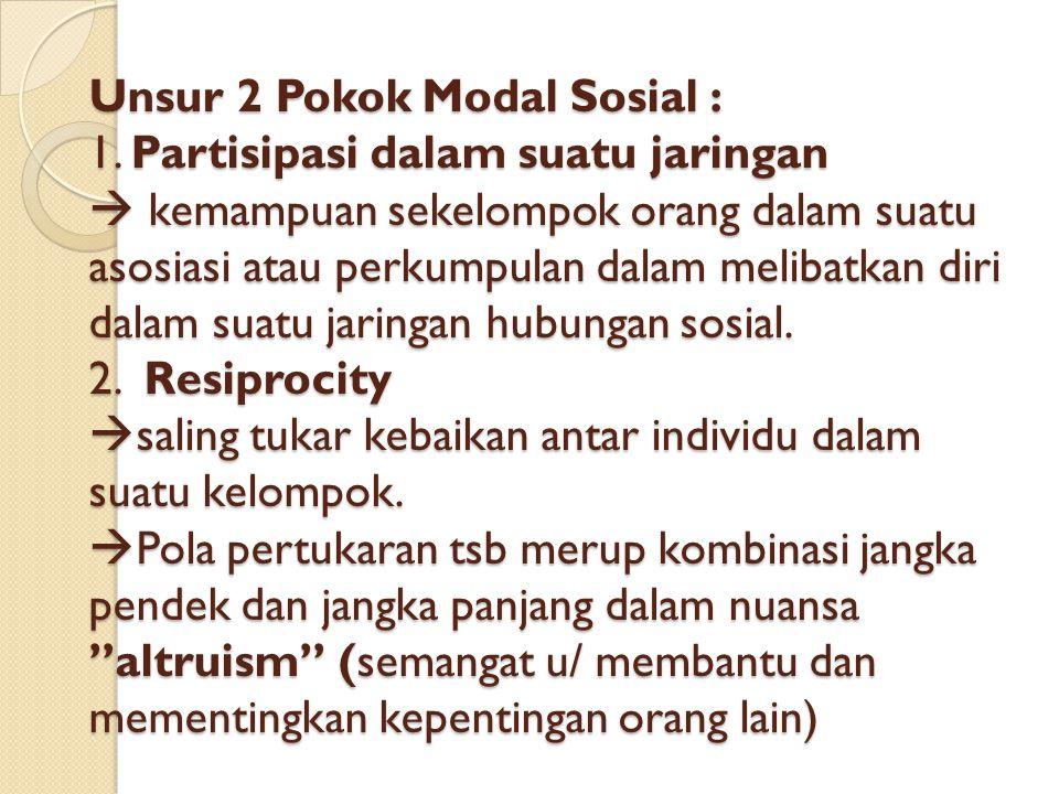 Unsur 2 Pokok Modal Sosial : 1