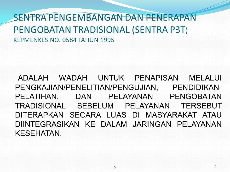 SENTRA PENGEMBANGAN DAN PENERAPAN PENGOBATAN TRADISIONAL (SENTRA P3T) KEPMENKES NO. 0584 TAHUN 1995