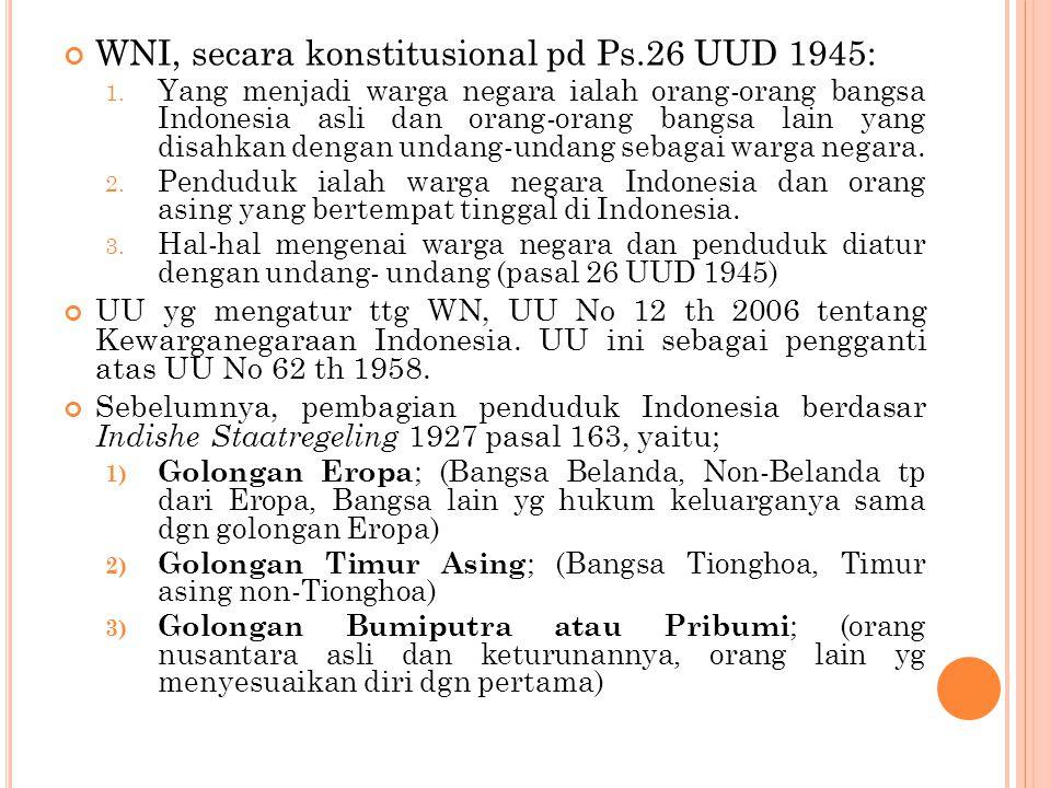 WNI, secara konstitusional pd Ps.26 UUD 1945: