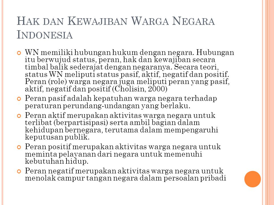 Hak dan Kewajiban Warga Negara Indonesia
