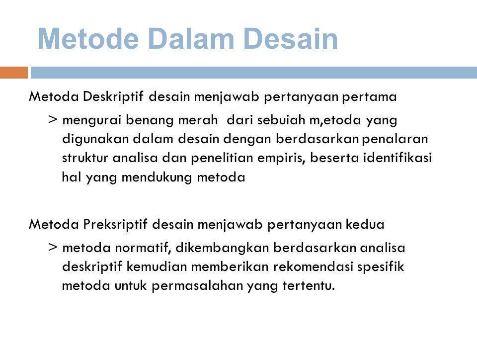 Metode Dalam Desain Metoda Deskriptif desain menjawab pertanyaan pertama.