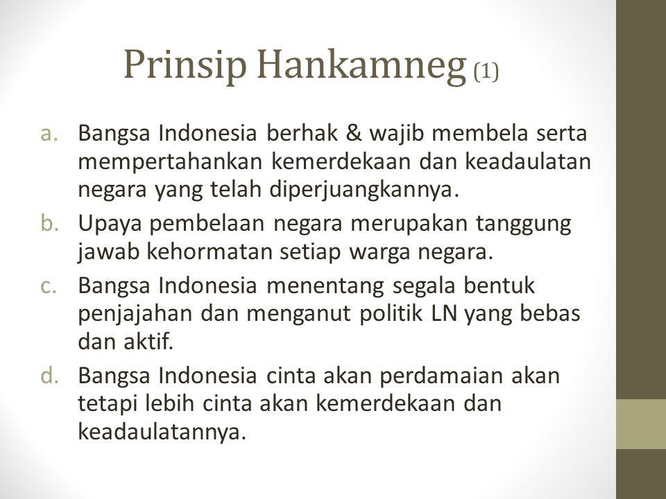 Prinsip Hankamneg (1) Bangsa Indonesia berhak & wajib membela serta mempertahankan kemerdekaan dan keadaulatan negara yang telah diperjuangkannya.