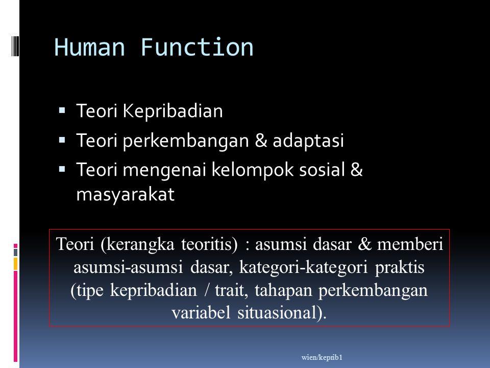 Human Function Teori Kepribadian Teori perkembangan & adaptasi