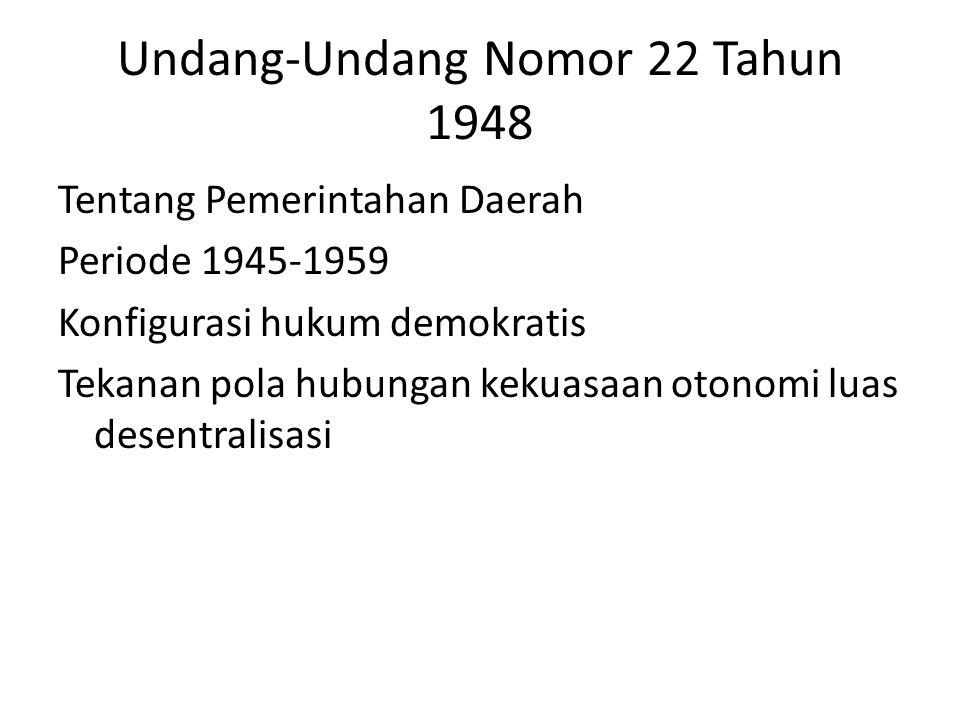 Undang-Undang Nomor 22 Tahun 1948